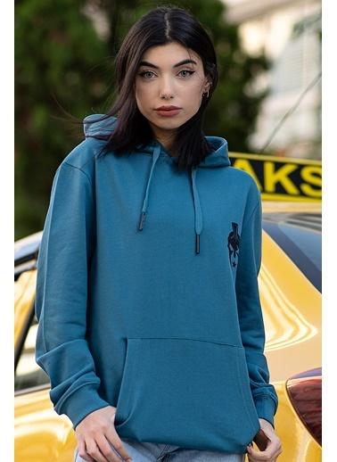 Bernotti 79 Mavi Kapüşonlu Kadın Sweatshirt Mavi